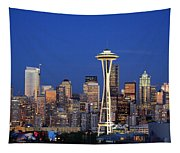 Seattle At Dusk Tapestry