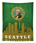 Seattle City Skyline State Flag Of Washington Art Poster Series 017 Tapestry