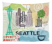 Seattle Cityscape- Art By Linda Woods Tapestry