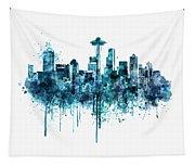 Seattle Skyline Monochrome Watercolor Tapestry