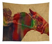 Secretariat Horse Race Watercolor Portrait Tapestry