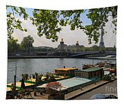 Seine Barges In Paris In Spring Tapestry