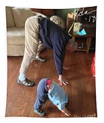 Self Portrait 8 - Downward Dog With Grandson Max On His 2nd Birthday Tapestry