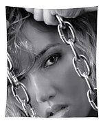 Sensual Woman Face Behind Chains Tapestry