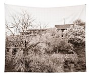 Sepia-toned Blooming Almond Trees Of Fikardou Village 1 Tapestry