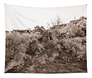 Sepia-toned Blooming Almond Trees Of Fikardou Village 2 Tapestry