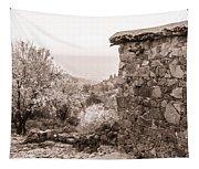 Sepia-toned Fikardou Village Scene 1 Tapestry