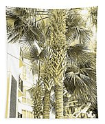 Sepia Toned Pen And Ink Palm Trees Tapestry