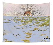 Serenity In The Spring Snow Tapestry