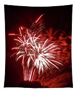 Series Of Red And White Fireworks Tapestry