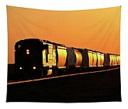 Setting Sun Reflecting Off Train And Track Tapestry