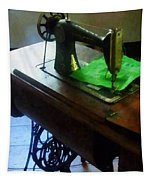 Sewing Machine With Green Cloth Tapestry