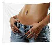 Sexy Woman With Pierced Belly In Blue Jeans Tapestry