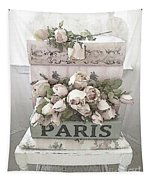 Paris Shabby Chic Pastel Paris Books Roses - Paris Shabby Cottage Watercolor Roses Tapestry