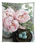 Shabby Chic Peonies With Bird Nest Robins Eggs - Summer Garden Peonies Tapestry