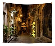 Shabby Chic - Small Street Night Walk In Syracuse Sicily Tapestry
