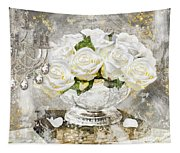 Shabby White Roses With Gold Glitter Tapestry