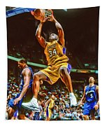 Shaquille O'neal Los Angeles Lakers Oil Art Tapestry