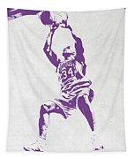 Shaquille O'neal Los Angeles Lakers Pixel Art Tapestry