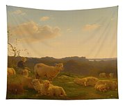 Sheep On A Hill Near Skarridso Tapestry