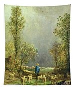 Sheep Watching A Storm Tapestry