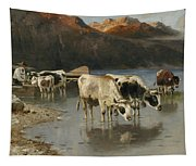 Shepherd With Cows On The Lake Shore Tapestry