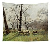 Shepherd With His Flock In The Evening Light Tapestry