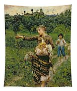 Shepherdess Carrying A Bunch Of Grapes Tapestry