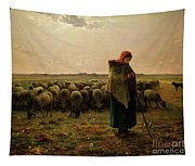 Shepherdess With Her Flock Tapestry