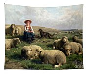 Shepherdess With Sheep In A Landscape Tapestry