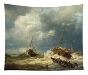 Ships In A Storm On The Dutch Coast Tapestry