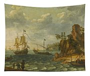 Ships Moored Off A Rocky Coastline With Fishermen Unloading Their Catch Tapestry