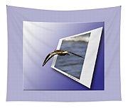 Shore Bird In Flight Tapestry