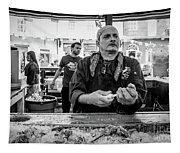 Shucking Oysters 2 - French Quarter- Bw Tapestry