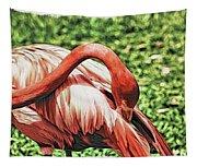 Shy Flamingo Tapestry