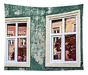 Sibiu Window Reflections - Romania Tapestry