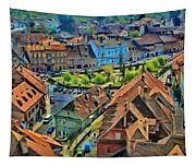 Sighisoara From Above Tapestry