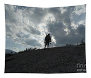 Silhouette Of A Hiker On Middle Sugarloaf Mountain - White Mountains New Hampshire Usa Tapestry