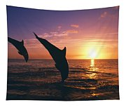 Silhouette Of Two Bottlenose Dolphins Tapestry