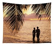 Silhouetted Couple Tapestry