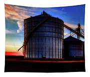 Silos At Sunset Tapestry