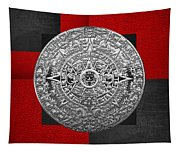 Silver Mayan-aztec Calendar On Black And Red Leather Tapestry