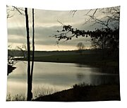 Silver Winter Lake Tapestry