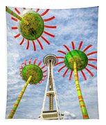 Singing Flowers Under The Space Needle Tapestry