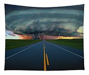 Single Lane Road Leading To Storm Cloud Tapestry