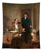 Sir Joshua Reynolds Visiting Goldsmith In His Study Tapestry