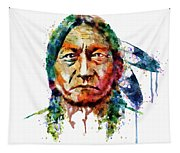 Sitting Bull Watercolor Painting Tapestry