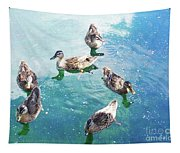 Six Ducks Swim Together Tapestry