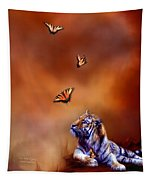 Six Wild Tigers Tapestry