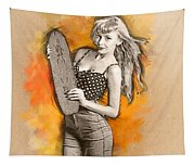 Skateboard Pin-up Illustration Tapestry